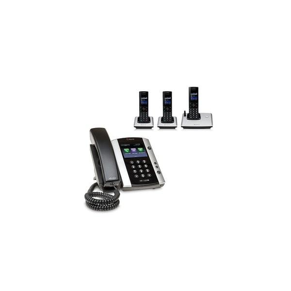 Polycom 2200-48500-001 VVX 501 12-line Business Media Phone with power supply & 3 VVX D60 Handset