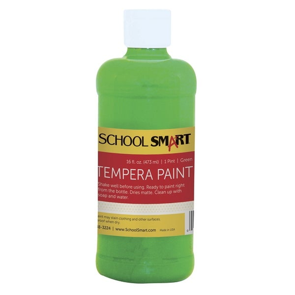 School Smart Non-Toxic Multi-Purpose Liquid Tempera Paint, 1 pt Plastic Bottle, Green