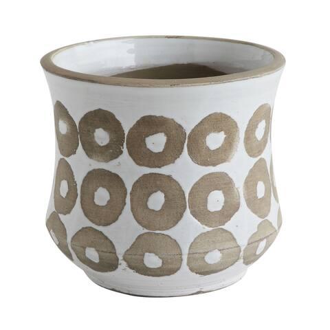 White Pot with Circle Print