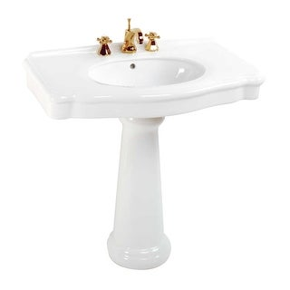 White China Pedestal Sink Widespread Faucet Holes with Overflow