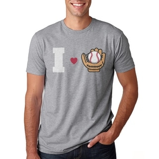 I Love Baseball I Heart Baseball Men's Heather Grey T-shirt