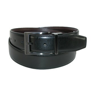 Dickies Men's Leather Feather Edge Reversible Belt with Gunmetal Buckle - black to brown