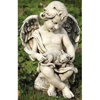"""11"""" Joseph's Studio Cherub Angel with Kitty Cat Outdoor Garden Statue - White"""