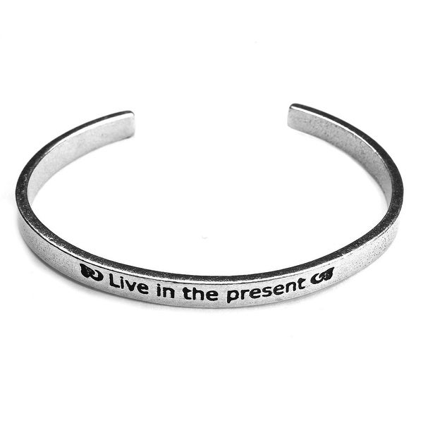 Women's Note To Self Inspirational Lead-Free Pewter Cuff Bracelet - Live In The Present - Silver