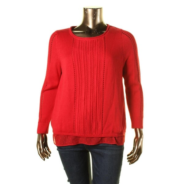 Lucky Brand Womens Pullover Sweater Flyaway Layered