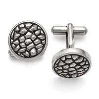 Chisel Stainless Steel Antiqued and Textured Cuff Links