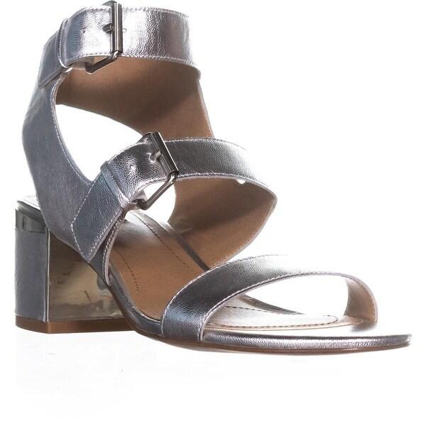 Tahari Dalton Peep Toe Strappy Sandals, Silver - 8.5 us