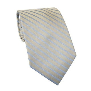 Calvin Klein Steel CK Striped Classic Silk Neck Tie Taupe and Grey - One Size Fits most