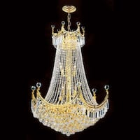 """Worldwide Lighting W83026G30 Empire 15-Light 1 Tier 30"""" Gold Chandelier with Clear Crystals - n/a"""