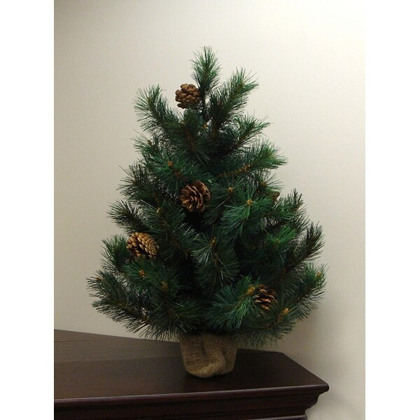 2' Royal Oregon Long Needle Pine Artificial Christmas Tree in Burlap Base - Unlit - green