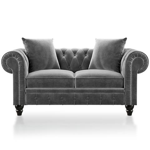 Loveseat Sofa Roll Arm Classic Chesterfield Sofa Set with 2 Pillows