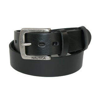 Nautica Boys' Saddle Leather with Double Keeper Jean Belt - Black