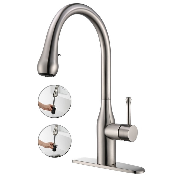 Single Handle Pull-out Kitchen Faucet with Deck Plate Brushed Nickel. Opens flyout.