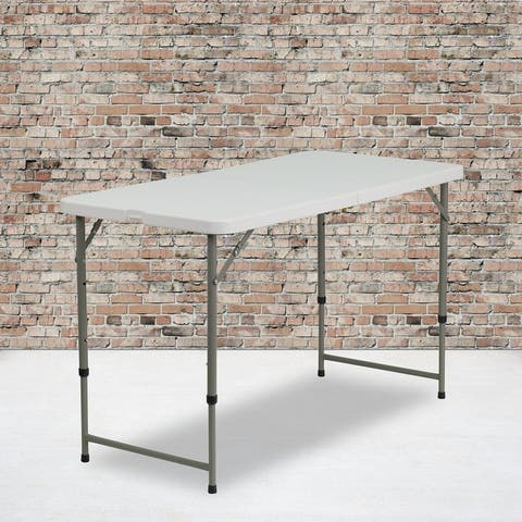 4-Foot Height Adjustable Bi-Fold Granite White Plastic Folding Table with Handle