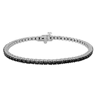 Prism Jewel 3.00 Carat Round Brilliant Cut Black Diamond Tennis Bracelet, 14k White Gold