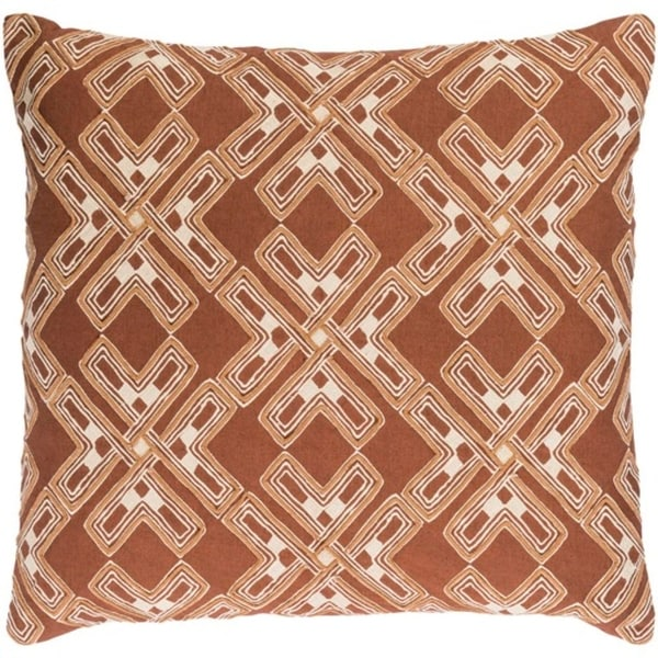 """20"""" City Snowflakes Milk Chocolate Brown and Eggshell White Square Throw Pillow"""