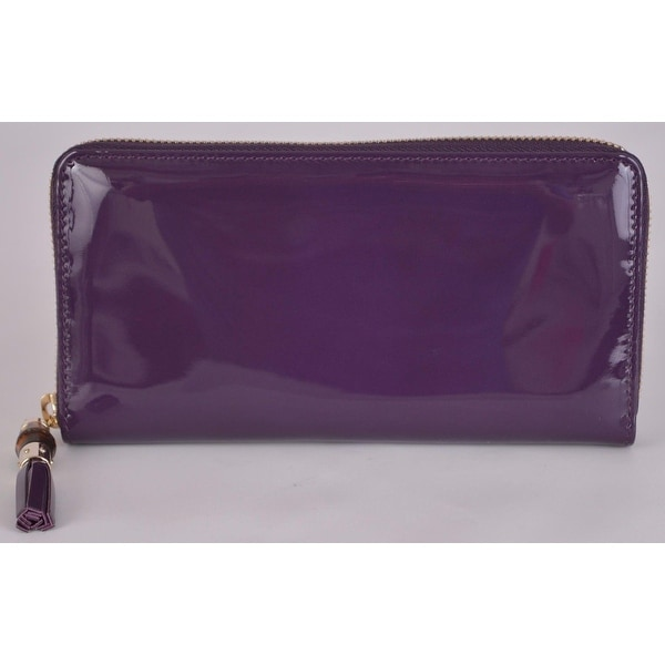 Gucci 224253 Purple Patent Leather Zip Tassel Bamboo Pull Clutch Wallet