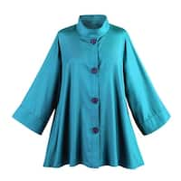 Women's Iridescent Fashion Swing Jacket - Button Down