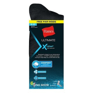 Hanes Ultimate X-Temp Men's No-Show Black 6-Pack (Includes 1 Free Bonus Pair)