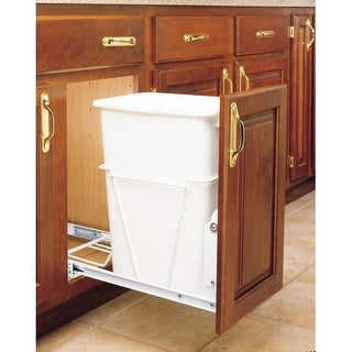 "Rev-A-Shelf RV-12PB S RV Series Bottom Mount Single Bin 19"" Tall Trash Can with Full Extension Slides - 35 Quart Capacity"