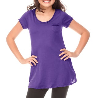 Kavio!Big Girls 7-16 Sheer Jersey Double Raw Edge Scoop Neck Penny Pocket Short Sleeve (More options available)