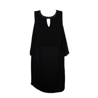 Sl Fashions Plus Size Black Beaded Cold-Shoulder 22W