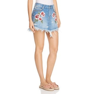 Free People Womens Denim Skirt Embroidered Destroyed - 25