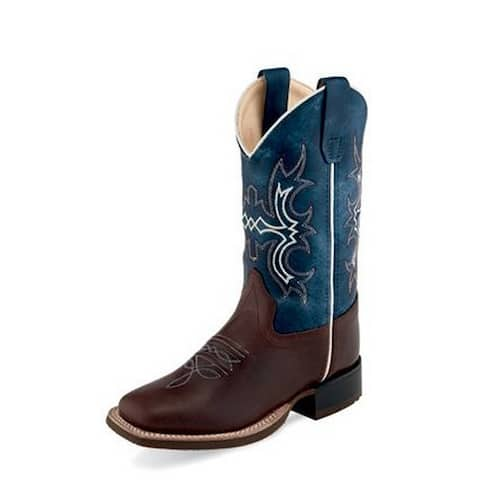 Old West Cowboy Boots Boys Reinforced Shanks Leather Blue