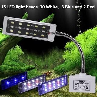 15 LEDS Aquarium Clip Lamp Touch Control Transparent crystal design Fish Tank - White