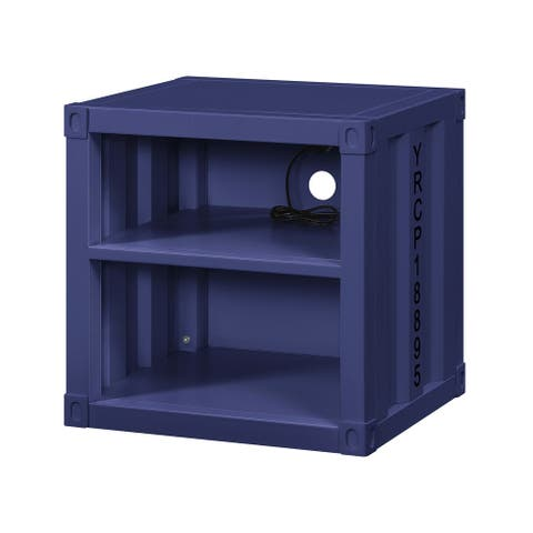 Metal Nightstand with 2 Open Compartment and USB Port, Blue - 20 H x 20 W x 17 L Inches