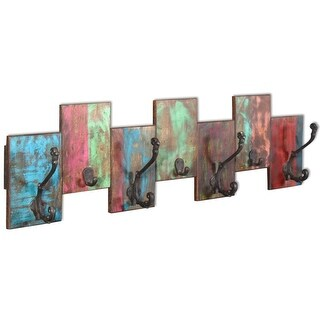 vidaXL Coat Rack with 7 Hooks Solid Reclaimed Wood