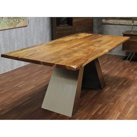 """Live Edge Industrial Iron Wooden Dining Table - 71.75"""" x 37"""" x 30"""""""