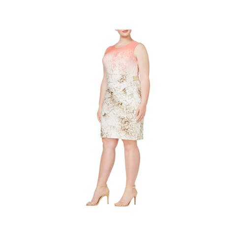 Calvin Klein Womens Plus Cocktail Dress Sleeveless Knee-Length