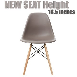 2xhome Grey - Eames Style Molded Bedroom & Dining Room Side Ray Chair with Natural Wood Eiffel Legs Base
