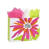 """Pack Of 250, Vogue 16 X 6 X 13"""" Brushed Floral Recycled Shopping Bags W/White Paper Twist Handles Made In Usa"""