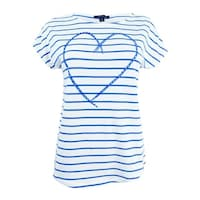 fd9fc4c0 Tommy Hilfiger Women's Striped Heart Graphic T-Shirt (XS, Ivory/Blueberry)