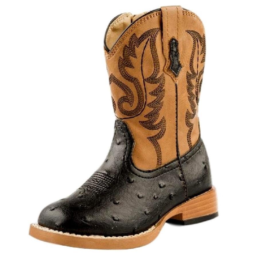 e6f9654614f Roper Western Boots Boys Faux Ostrich Black Tan