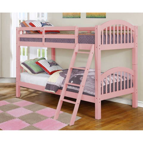 Traditional Pink Finish Twin over Twin Arched Wood Bunk Bed