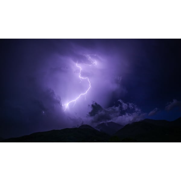 Purple Lightning Strike Photograph Art Print
