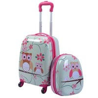 Costway 2Pc 12'' 16'' Kids Luggage Set Suitcase Backpack School Travel Trolley ABS