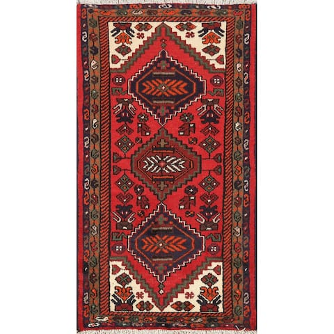 "Geometric Persian Hamedan Wool Area Rug Hand-knotted Kitchen Carpet - 2'4"" x 3'11"""