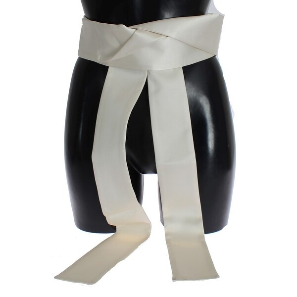 Dolce & Gabbana Dolce & Gabbana White Silk Wide Runway Catwalk Waist Belt - it40-s