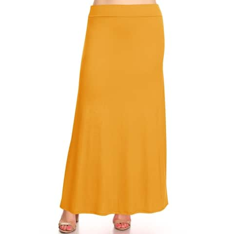 Women's Solid Plus Size Elastic Band Maxi Skirt