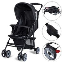 Safeplus Foldable Lightweight Baby Stroller Kids Travel Pushchair 5-Point Safety System - Black