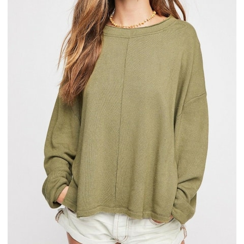 Free People Green Women's Size Large L Drop Shoulder Pullover Sweater