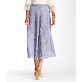 Free People NEW Blue Linen Women Size 0 Wide Leg Capris Cropped Pants