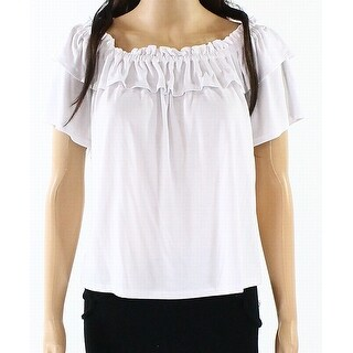 Harlowe & Graham White Womens Size Small S Ruffled Stretch Knit Top