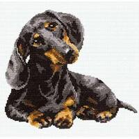 "Dachshund Counted Cross Stitch Kit-9.75""X9.75"" 16 Count"