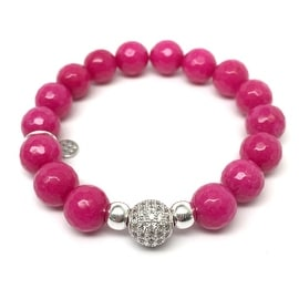 Fuchsia Quartz 'Radiance' stretch bracelet 14k Over Sterling Silver