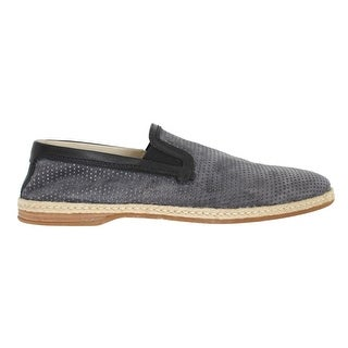 Dolce & Gabbana Gray Black Leather Breathable Loafers - eu44-us11